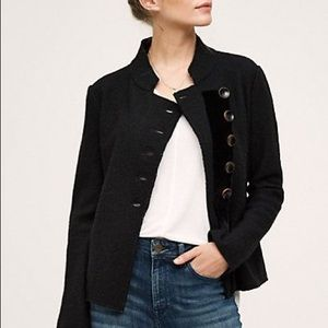 Anthropologie Monogram Military Sweater Jacket